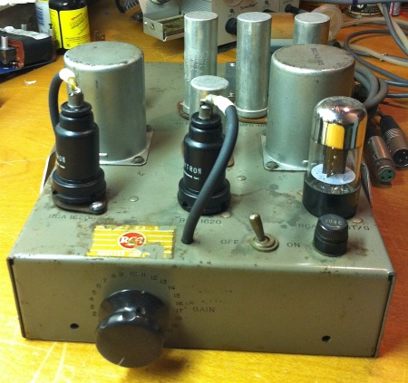 Front view with gain control knob.